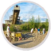 Panning For Gold In Chicken-ak- Round Beach Towel