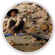 Panning For Gold Mekong River 1 Round Beach Towel