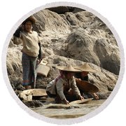 Panning For Gold Mekong River 2 Round Beach Towel