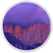 Panorama Alpenglow On Mount Whitney Eastern Sierras California Round Beach Towel