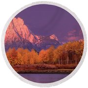 Panorama Dawn Lights Up Mount Moran In Grand Tetons National Park Round Beach Towel