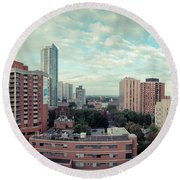 Panorama-dt-toronto Looking East Round Beach Towel