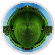 Panorama Earth Of A Green Meadow And Blue Sky Round Beach Towel