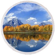 Panorama Fall Morning At Oxbow Bend Grand Tetons National Park Round Beach Towel