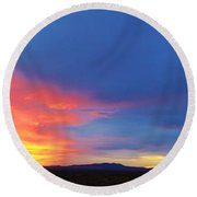 Panorama Fire In The Sky Sunset Round Beach Towel
