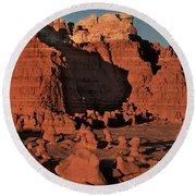 Panorama Hoodoos Goblin Valley Utah Round Beach Towel