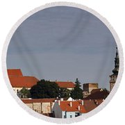 panorama - Mikulov castle Round Beach Towel by Michal Boubin