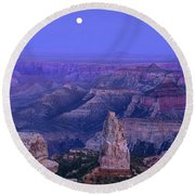 Panorama Moonrise Over Point Imperial Grand Canyon National Park Round Beach Towel