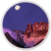 Panorama Moonset Middle Palisades Glacier Eastern Sierras California Round Beach Towel