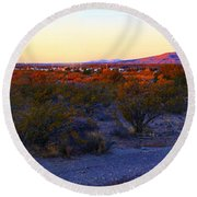 Panorama Morning View Of Mountains Round Beach Towel