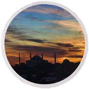 Panorama Of Istanbul Sunset- Call To Prayer Round Beach Towel