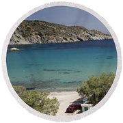 Panorama Of Mandrakia Fishing Village Milos Greece Round Beach Towel