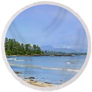 Panorama Of Pacific Coast On Vancouver Island Round Beach Towel by Elena Elisseeva