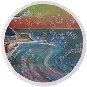 Panorama Of Pch At Big Sur Round Beach Towel