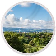 Panorama Of Phoenix Park And Wicklow Mountains Round Beach Towel