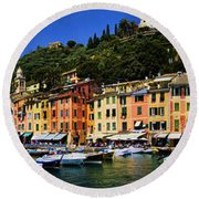 Panorama Of Portofino Harbour Italian Riviera Round Beach Towel