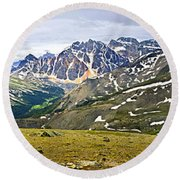 Panorama Of Rocky Mountains In Jasper National Park Round Beach Towel