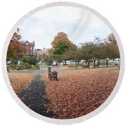 Panorama Of Taylor Park St Albans Vermont Round Beach Towel