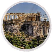 Panorama Of The Acropolis In Athens Round Beach Towel
