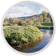 Panorama Of The Little River At Stowe Vermont Round Beach Towel