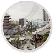 Panorama Of The Senso Ji Temple In Tokyo Round Beach Towel