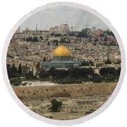 Panorama Of The Temple Mount Including Al-aqsa Mosque And Dome Round Beach Towel