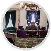 Panorama Of The Vermont State House Montpelier Vermont Round Beach Towel