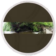 Panorama Of Wolf Creek At Letchworth State Park Round Beach Towel