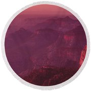Panorama Pre-dawn At Point Imperial Grand Canyon National Park Round Beach Towel