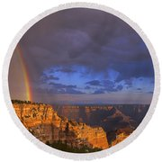 Panorama Rainbow Over Cape Royal North Rim Grand Canyon National Park Round Beach Towel
