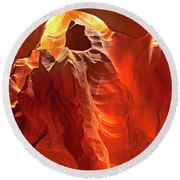 Panorama Slot Canyon Arizona Round Beach Towel