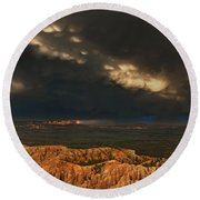 Panorama Storm Clouds Over Bryce Canyon National Park Utah Round Beach Towel