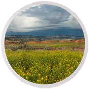 Panorama Striaght Cliffs And Rabbitbrush Escalante Grand Staircase  Round Beach Towel