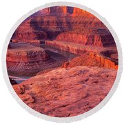 Panorama Sunrise At Dead Horse Point Utah Round Beach Towel