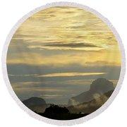 Panorama Sunset Aparaman And Towyen Tepuis Kavak Venezuela Round Beach Towel