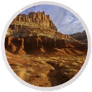 Panorama The Castle On A Cloudy Morning Capitol Reef National Park Round Beach Towel