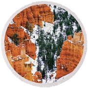 Panorama Winter Storm Blankets Thors Hammer And Bryce Canyon Round Beach Towel