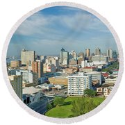 Panoramic Aerial View Of Durban, South Round Beach Towel