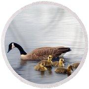 Panoramic Goose Family Outing Round Beach Towel