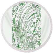 Panoramic Grunge Etching Sage Color Round Beach Towel