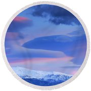 Panoramic Lenticular Clouds Over Sierra Nevada National Park Round Beach Towel