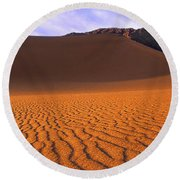 Panoramic Mesquite Sand Dune Patterns Death Valley National Park Round Beach Towel