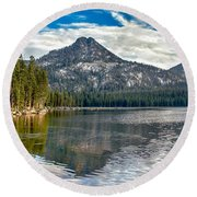 Panoramic Of Anthony Lake Round Beach Towel
