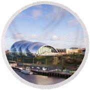 Panoramic Of Newcastle And Gateshead Quayside Round Beach Towel