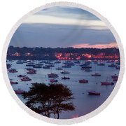 Panoramic Of The Marblehead Illumination Round Beach Towel by Jeff Folger