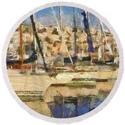 Panoramic Painting Of Mikrolimano Round Beach Towel