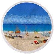 Panoramic Painting Of Porto Katsiki Beach Round Beach Towel