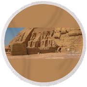 Panoramic Photograph Of Famous Egyptian Monument Round Beach Towel