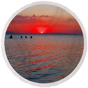 Panoramic Summer Sunset Round Beach Towel