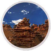 Panoramic Sunset Light On Sandstone Formations Fantasy Canyon  Round Beach Towel
